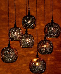 Small, Moroccan inspired, glass-blown pendant lanterns