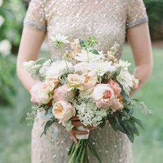 Elegant sparkle for your beautiful bridesmaids |Repost @stylemepretty ・・・ Let your best friends sparkle in beaded bridesmaids' dresses that catch the light and a romantic, whimsical bouquet in their hands! | Photography: @laurenfair | Floral Design: Backyard Bouquets | Bridesmaids' Dresses: @lovelybride
