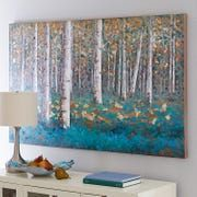 Slender white birches stand in vivid contrast to clusters of luxuriant teal foliage in our unique, hand-painted acrylic reproduction. Rich in detail and bold, saturated color, it makes a strong statement. Birch Trees Painting, Birch Tree Art, Tree Paintings, Mandala Art, Painting Inspiration, Color Inspiration, Wood Art, Landscape Paintings, Canvas Art