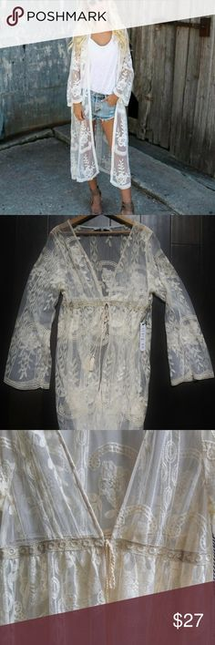 260d2c2a0 I V O R Y L A C E D U S T E R K I M O N O Story On Ivory lace kimono duster  jacket This beautiful duster features ...