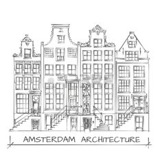 Hand Drawn Detail Amsterdam Architecture Drawing. Black on White