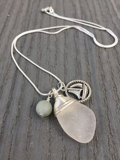 Sea Glass Necklace with Amazonite and boat charm,necklace uk,jewellery uk,uk seller,sea glass,sea glass jewellery,wirewraped necklace,gifts by LonelyCoveJewellery on Etsy