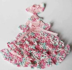 Spring Crinoline Lady Doily With Ruffles / Hand Crochet In Pink W Green / New