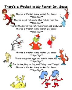 "Seuss Song for Kids! ""There's a Wocket in My Pocket, Dr. Seuss"" G… Simple Dr. Seuss Song for Kids! ""There's a Wocket in My Pocket, Dr. Seuss"" Great for Dr. Dr. Seuss, Dr Seuss Week, Preschool Music, Preschool Themes, Preschool Lessons, Preschool Projects, Preschool Classroom, Teaching Music, Classroom Activities"