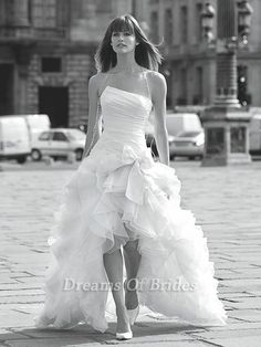 find cheaper   Sexy High-low Bridal Dress With Detachable Long Flounced Skirt DOB305