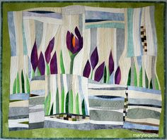 Crocuses in the Snow- quilt by Maryte Collard