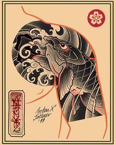 Asian Tattoos, Owl Tattoos, Tattoo Ink, Arm Tattoo, Fish Tattoos, Traditional Japanese Tattoo Sleeve, Japanese Sleeve Tattoos, Japanese Koi Fish Tattoo, Japanese Tattoo Designs