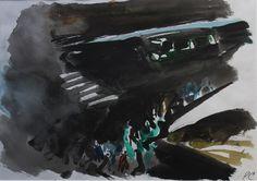 Peter Coker - Pont au Change, Paris   Watercolour and Chinese ink, c1972 available on www.retrosixty.co.uk   #modernbritish #art #paris