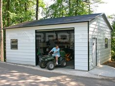 Metal garages like this on are inexpensive solutions to keep your recreational toys save from vandals and theives. They look great in the back yard and they are built to last.