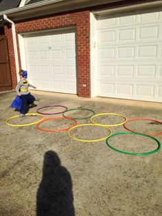 "Hula hoops were used as party of the obstacle course for ""agility."""