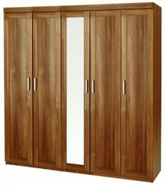 One Call 360° Alive Tall 5 Door Natural Adia Walnut Wardrobe with Mirror Hanging Space Hat and Shoe Shelf