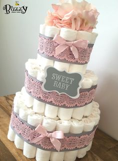 Pink and Gray Baby Girl Diaper Cake girl von BuzzyDiaperCakes