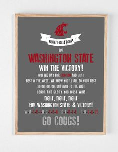 WSU COUGARS Fight Song Poster  Washington State by HENANDCO, $22.00