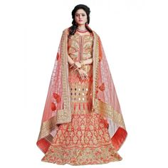 Designer Bridal Peach Banglori Silk & Tassen Silk Heavy Zari Work Wedding Wear Lehenga Choli - 192 ( SS-Princes-194 )