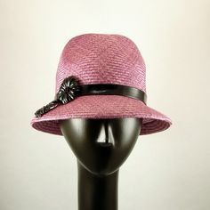 ON SALE! Handmade Straw Fedora Hat for Women Rose Pink Straw Hat Pink with Black Patent Leather