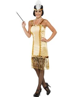 Keep things swinging on the dance floor as the original party girl in our Gold Charleston Flapper Adult Costume. This speakeasy sweetheart keep things classy and sassy with her roaring 20s fashion statement. Our women's Gold Charleston Flapper Costume includes a golden yellow dress with gold sequin shoulder straps and trim, decorative gold trim down front panel and gold fringe on hem. Shake things up in modest 1920s fashion and draw the attention of your favorite gangster in our Gold ...