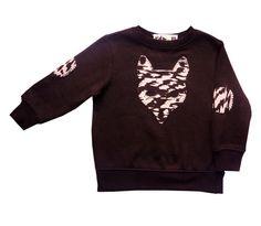 Cool Toddler Jumper - KaPow 'Mr Fox' Sweater Black Geometric Print Unisex Trendy Stylish Kids