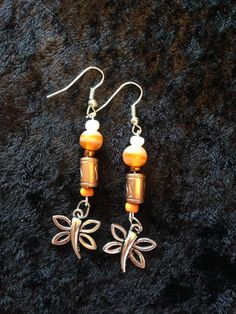 Orange Bronze and Silver Dragonfly Boho Earrings by CraftyOlBats