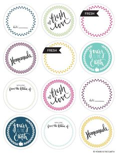 Free printable Mason Jar lid covers