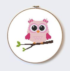 Pink Owl On Branch modern cross stitch pattern por MilaliParade