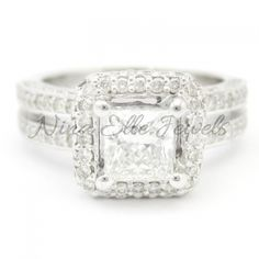 Princess Cut Antique Style Double Row Diamond Engagement Ring P46  Wow!!!!