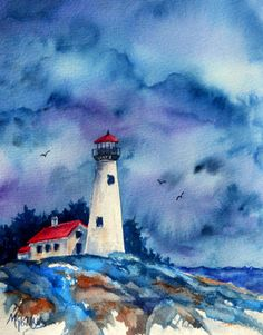 Creative Painting by Martha Kisling: 8x10 STORMY LIGHTHOUSE