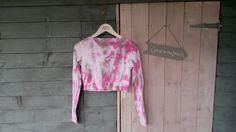 Women's long sleeve crop top. Pink & grey. Size 10