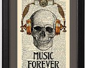 Skull in steampunk headphones, Music forever  Funny poster, Dictionary Print, Book pages, Gift, Dorm home wall decor, CODE/141