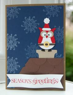 handmade Christmas card ... dark blue sky with snowflakes ... scalloped rooftop ... punch owl dressed as santa ... cute!!! ...Stampin' Up!