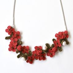 JJ Caprices - Elaborate Hand Crocheted Flower and Pearl Necklace - Red