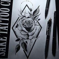 Dotwork Rose Design