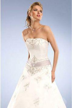 A-line Strapless Satin Wedding Dress