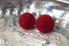 Bright Red Round Clip On Earrings Textured Deep Red Ear