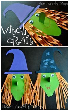 Adorable and fun Witch Craft for Kids. I love that 3-D nose on it too. Such a perfect Halloween Craft for Kids. #artandcraftdecor