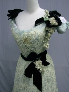 1012 Delicious 1900 Hand Made Lace Aqua Silk Ball Gown | eBay