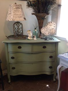 Antique Queen Anne Serpentine Dresser in Maison Blanche Mardi Gras, available at Cottage Home