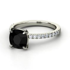 Cushion Black Onyx 14K White Gold Ring with Diamond & Diamond - Cecilia Ring | Gemvara