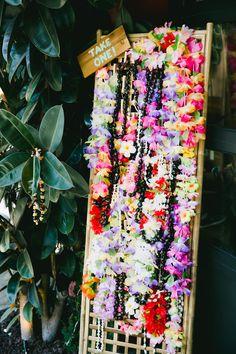 Modern Tiki Wedding Lei Display