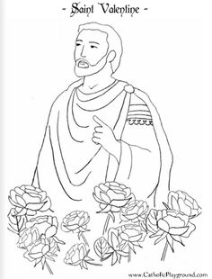 Saint Valentine Catholic coloring page for children I. Feast day is February 14th.