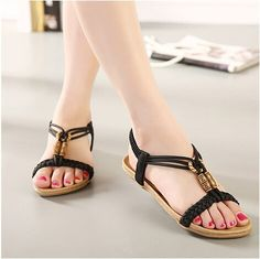 d29a99055c3fd6 Casual Flat Heel Beach Women sandals 2018 new wild casual flat heel beach summer  sandals women shoes flip flops bohemian shoe woman sandals feminine.