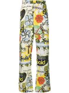Green linen graphic print trousers from Martine Rose featuring a waistband with belt loops, a concealed fastening, side pockets, rear pockets and a regular length. Lit Outfits, Edgy Outfits, Cool Outfits, Fashion Outfits, Fashion Bella, Vogue Fashion, Printed Trousers, Alternative Outfits, Graphic Prints