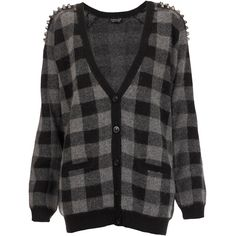 TOPSHOP Knitted Stud Check Cardigan ($50) ❤ liked on Polyvore featuring tops, cardigans, jackets, sweaters, shirts, charcoal, charcoal shirt, topshop cardigan, studded shirt and pattern shirts