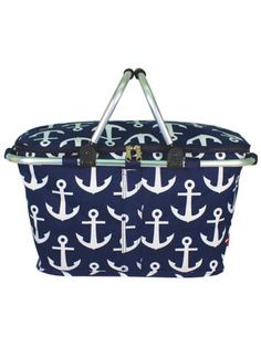 Navy with White Anchors Collapsible Insulated Market Basket with Lid