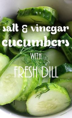 {Eating Light} DIY Salt & Vinegar Cucumbers with Fresh Dill - Only four simple ingredients but lots of flavor. The entire batch is only 4 Weight Watchers Plus points. Healthy alternative to salt & vinegar chips!