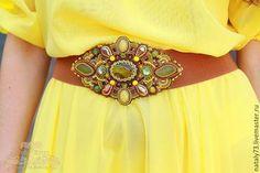 """Купить пояс-резинка """"Желтая горчица"""" - разноцветный, орнамент, горчичный цвет, пояс женский"""