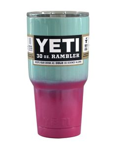Seafoam Pink Ombre Fade Yeti 30 oz Rambler Tumbler