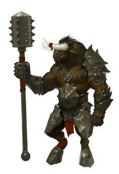 Minotaur Gladiator/Fighter w/ morningstar & half-plate.
