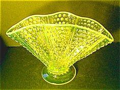 VASELINE HOBNAIL FAN VASE, FENTON My Glass, Glass Art, Fenton Glassware, Fairy Lamp, Vaseline Glass, Glass Company, Opaline, Carnival Glass, Glass Collection