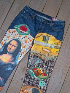 Items similar to Deep Blue C Art For Arts Sake Custom Hand Embellished Jeans on Etsy Painted Jeans, Painted Clothes, Diy Clothing, Custom Clothes, Denim Kunst, Tops Diy, Mode Cool, Denim Ideas, Embellished Jeans