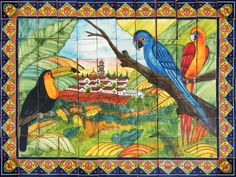 talavera mural with birds